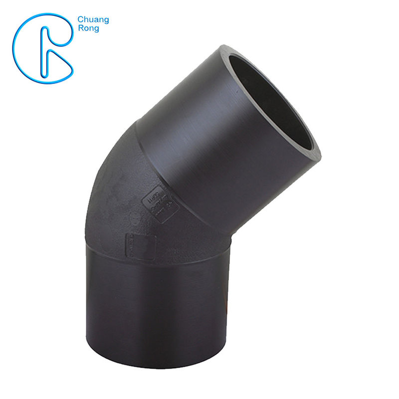 HDPE Irrigation Pipe Fittings , Butt Welding HDPE 45 Degree Elbow CE Approved